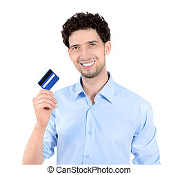 Handsome man showing credit card isolated