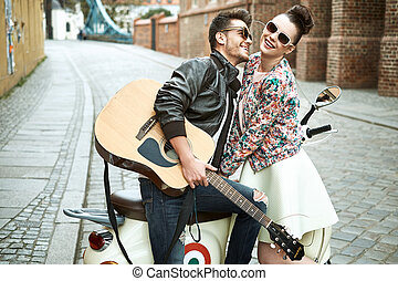 Handsome man singing for his beloved girlfriend