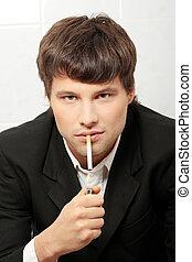 Handsome man smoking