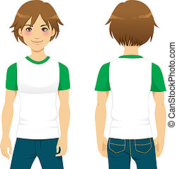 Handsome Man Tshirt - Front and back view of handsome man...