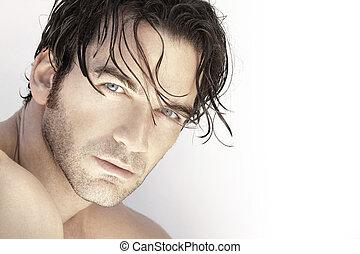 Handsome man up close