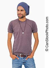 Handsome man wearing beanie hat