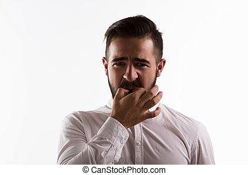 Handsome man whistling