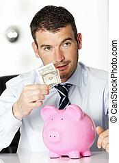 dollar and a piggy bank