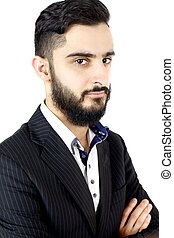 Handsome man with beard looking - Cool hip business man with...