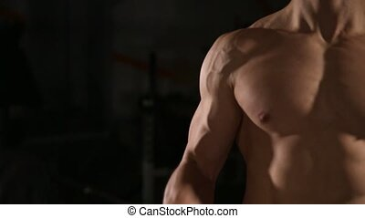 Handsome man with big muscles, posing in the gym muscular man lifting weights over dark background muscular man working out in gym doing exercises with barbell at biceps strong male. close-up