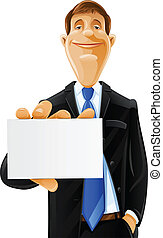 handsome man with card vector illustration isolated on white...