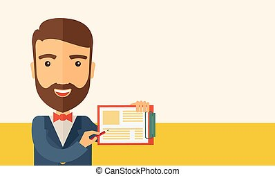 A handsome hipster caucasian man wearing blue jacket holding his clipboard with paper where he wrote his report happily presenting his marketing plan. Marketing strategy concept. A contemporary style with pastel palette, beige tinted background. Vector flat design illustration. Horizontal layout ...