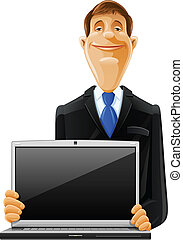 handsome man with laptop vector illustration isolated on...