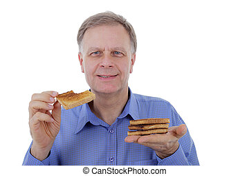 man with toast