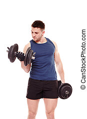 Handsome man working out with dumbbells