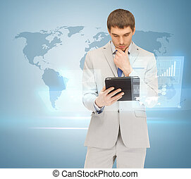 man working with tablet pc and virtual screen