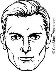 A handsome mans face in a cartoon pop art comic book style