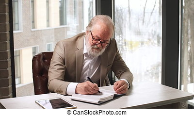 Handsome mature businessman in classic suit and eyeglasses working in his office.
