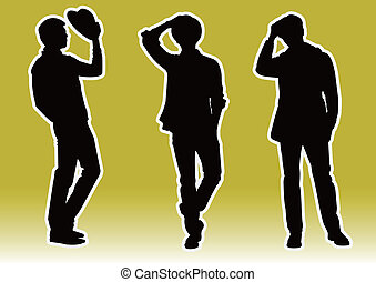 handsome men model Silhouette - Three handsome men model...