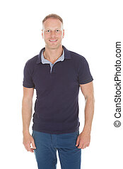 Handsome Mid Adult Man In Casuals - Full length of handsome...