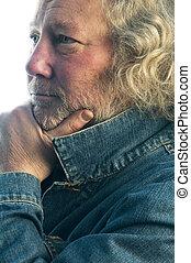 handsome middle age man denim jacket