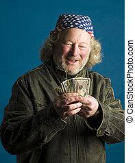 handsome middle age man flag bandana leather jacket cash money