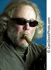 handsome middle age man leather jacket smoking cigar