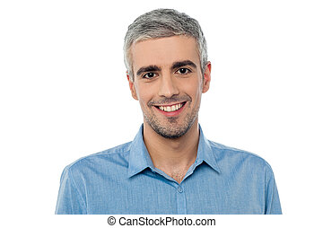 Handsome middle age model - Portrait of a smiling middle age...