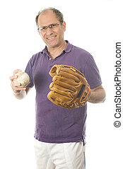 handsome middle age senior man softball throwing into baseball glove on white background