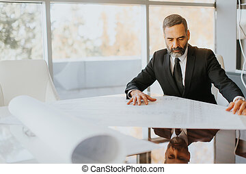Handsome middle aged businessman looking at the plans