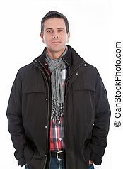 Handsome middle-aged man in a winter scarf