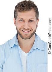 Handsome model smiling in close up