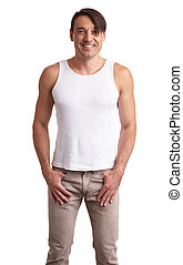 handsome muscular guy in white t-shirt