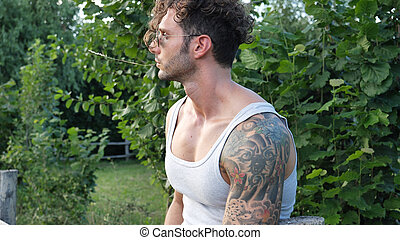 Muscular Hunk Man Outdoor in Countryside