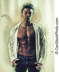 Handsome muscular man in watercolor painting effect
