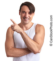 handsome muscular man pointing finger