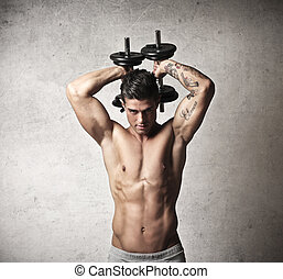 muscular man - handsome muscular man trains with weights