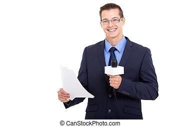 handsome newsreader isolated on white