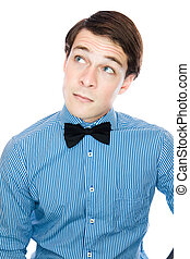 Handsome gentleman with a bow tie isolated on a white background
