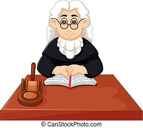 handsome old judge cartoon sitting with reading book and...