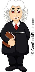 handsome old judge cartoon standing bring book with smile -...