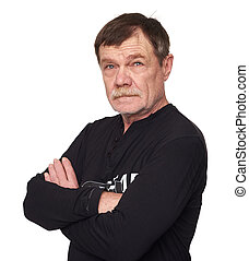 Handsome old man with mustache isolated