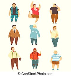 Handsome overweight men set, fat guys in fashionable clothes, body positive vector Illustrations on a white background
