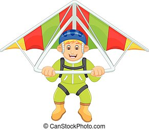 handsome paragliding cartoon in action - vector illustration...