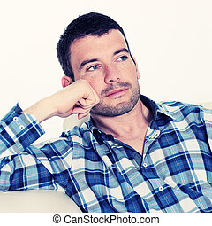 handsome pensive man