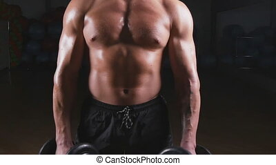 Handsome power athletic man with dumbbell confidently looking forward. Strong bodybuilder with six pack, perfect abs, shoulders, biceps, triceps and chest