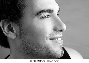 handsome profile portrait young man face