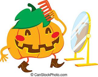 Handsome Pumpkin Man - Handsome pumpkin man with cowboy...