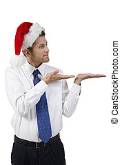 handsome santa man with open palms