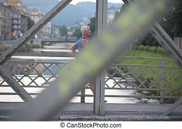 handsome senior man  jogging