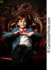 seven year old boy - Handsome seven year old boy in elegant...