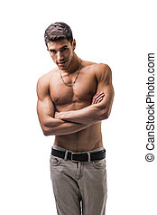 Handsome shirtless athletic young man on white - Handsome ...