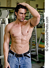 Handsome shirtless muscular man with jeans in gym