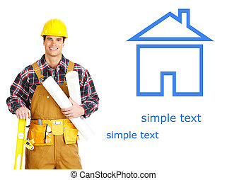 builder - Handsome smiling builder. Isolated over white...